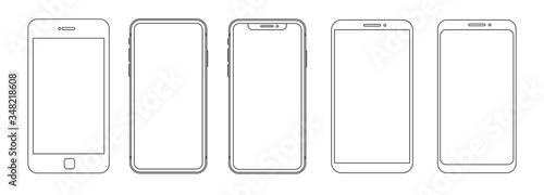 Fototapeta Outline graphic mobile phone. Vector illustration obraz