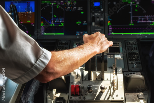 Photo Operating the Throttle for Taking Off