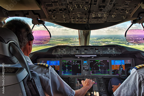 Valokuva Pilot and copilot in commercial plane