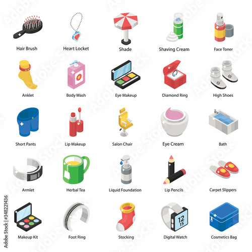 Photo Pack Of Cosmetics Isometric Icons