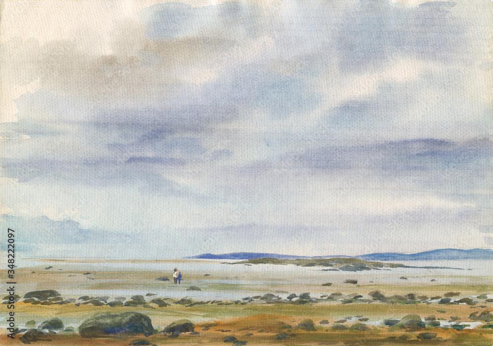 Watercolor: Low tide