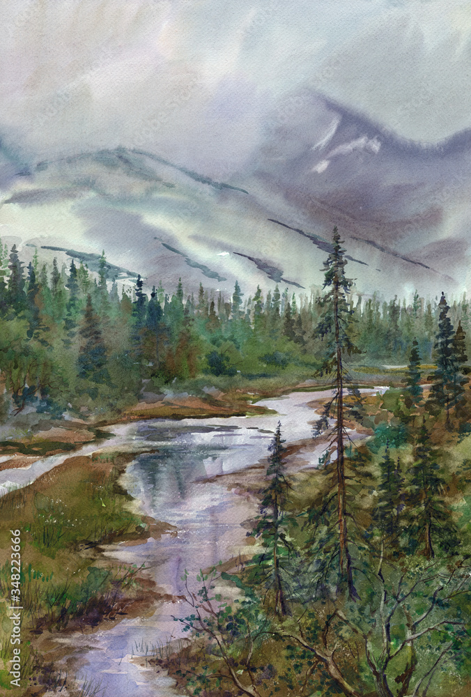 Watercolor: Rain and low clouds in the Khibiny Mountains