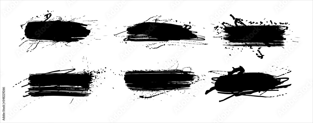 Fototapeta Set of brush strokes, Black ink grunge brush strokes splatter dirt stain splatter spray splash with drops blots isolated. Abstract grunge sketches for design or graphic art.