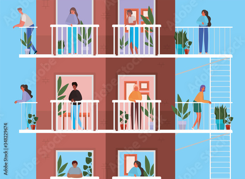 Fotografia People looking out the windows with balconies from brown building vector design