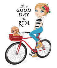 Lovely Girl Riding A Bike With...