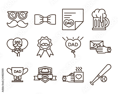 Photo happy fathers day, celebration accessories message decoration party icon set lin