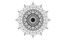 Black And White Mandala Design..The Luxury Circular Floral Pattern Of The Mandala