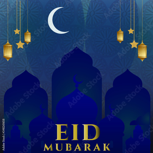 Eid Mubarak calligraphy with the moon, stars, and lanterns hanging in the air, Islamic vector design greeting card template with wishes Eid Mubarak for Saudi Arabia and Muslim people Canvas Print