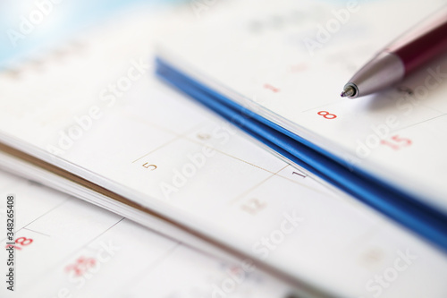 calendar page with pen close up background business planning appointment meeting Wallpaper Mural