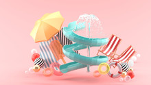 Slider And Fountains Surrounded By Rubber Rings, Beach Chairs, Ice Cream And Umbrellas On A Pink Background.-3d Rendering..