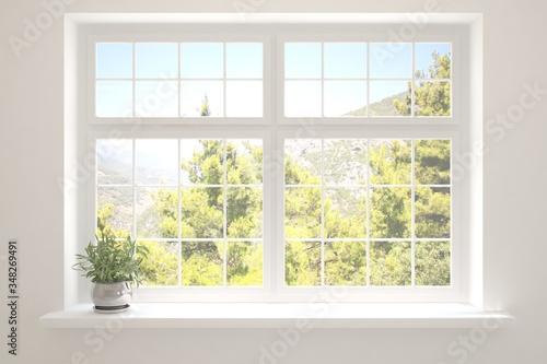 Obraz White empty room with summer landscape in window. Scandinavian interior design. 3D illustration - fototapety do salonu