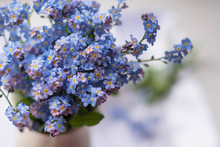 Blue Flowers In A Vase