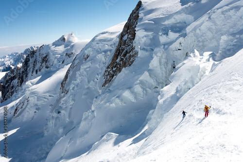 Fotografie, Obraz Mont Blanc north face on skis