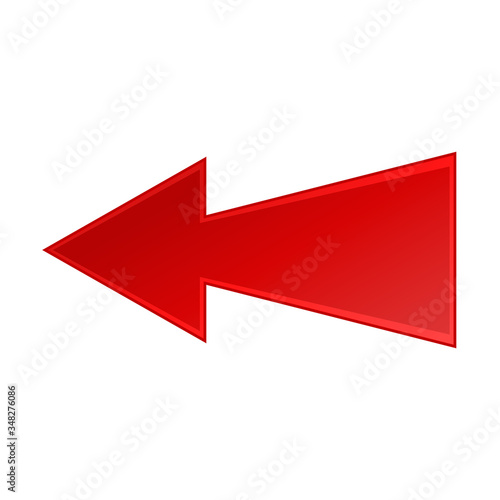 Photo Angular red arrow to the left icon on a white background