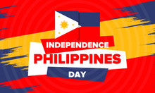 Philippines Independence Day. Celebrated Annually On June 12 In Philippines. Happy National Holiday Of Freedom. Philippines Flag. South-East Asian Country. Patriotic Design. Vector Poster