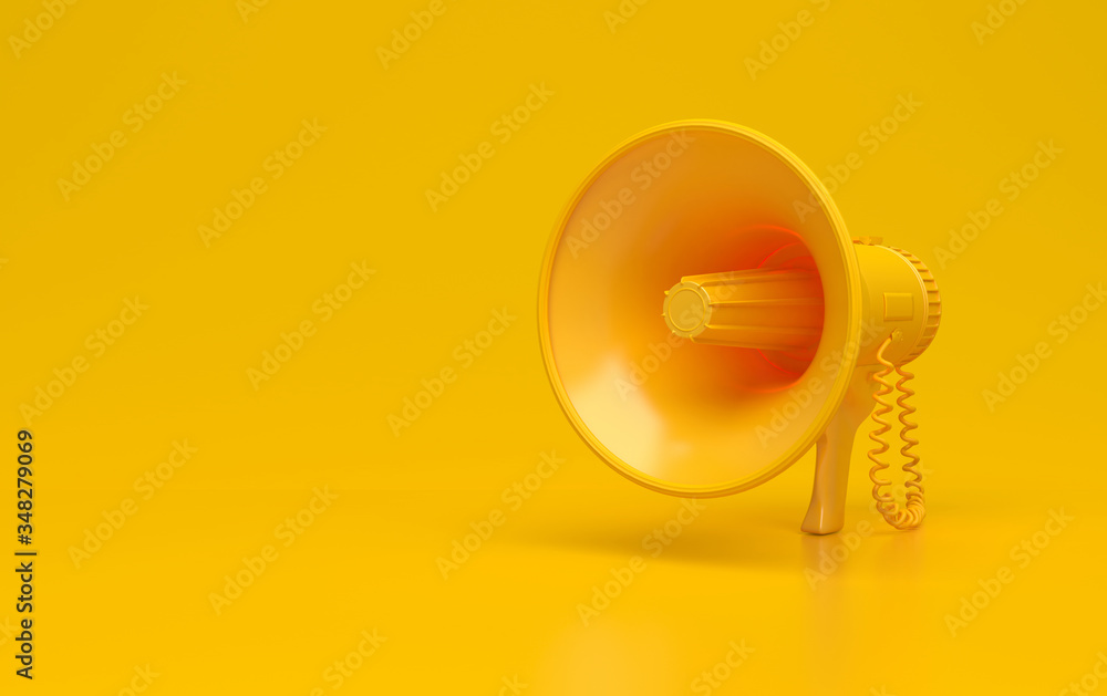 Fototapeta Monochrome yellow single megaphone. Loudspeakers on a yellow background. Conceptual illustration with copy space. 3D rendering.
