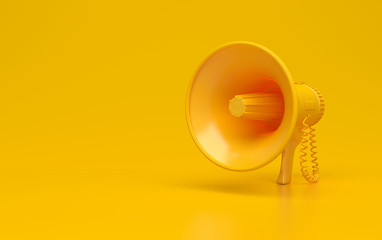 Monochrome yellow single megaphone. Loudspeakers on a yellow background. Conceptual illustration with copy space. 3D rendering.