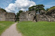 Landscape With Interior Of The Inverlochy Castle Ruin, Scotland In Nice Sunny Weather