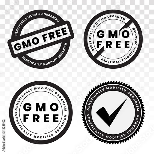genetically modified organism (GMO ) free / non GMO food packaging sticker label flat icon Wallpaper Mural