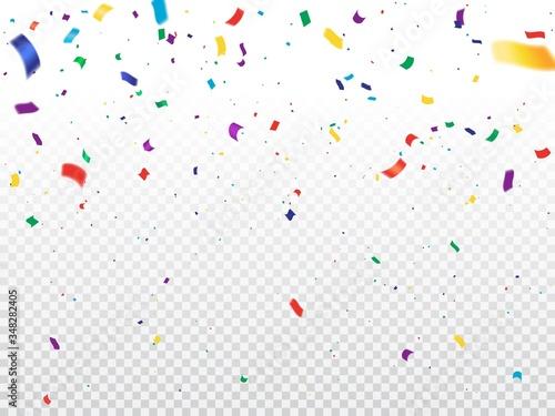 Fototapeta Serpentine streamers, realistic vector confetti, tinsel or ribbon swirls falling on transparent background. Christmas party, birthday anniversary and New Year carnival decoration, festive backdrop obraz na płótnie