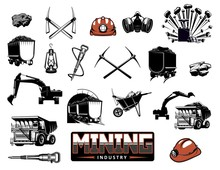 Coal Mining Industry Isolated Vector Icons. Mine Machinery And Miner Equipment Tools. Metal Ore, Coal, Excavator Or Digger And Bulldozer, Jackhammer And Pickaxe, Wheelbarrow And Hardhat, Lantern