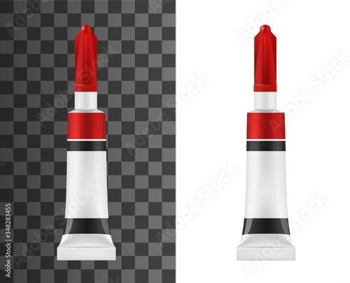 Photo Super glue tube realistic vector mockup