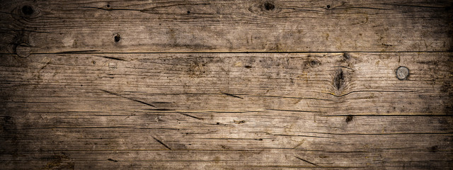 Fototapeta Grunge Old brown rustic dark grunge weathered wooden texture - Wood background panorama long banner