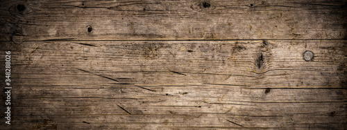 Fototapeta Old brown rustic dark grunge weathered wooden texture - Wood background panorama long banner  obraz