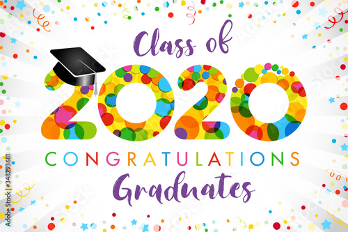 Class of 2020 year graduation banner, award concept Fototapete