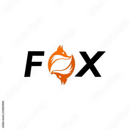 Photo The FOX text and inside the O waving figure fox tail sweetheart, fox wolf logo