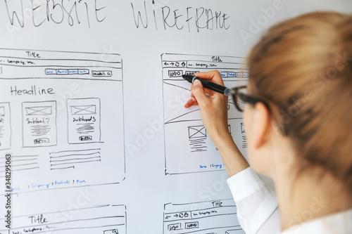 UI UX designer drawing new website wireframe Fototapet