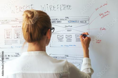 Fototapeta UI UX designer drawing new website wireframe