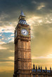 Sunset over Big Ben clock tower in London