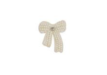 Fashion Wedding Accessories For Lady. Bow Textile Stripe With Gemstones. Handmade Brooch Beaded.