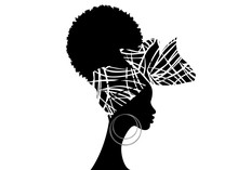 Portrait African Woman Wears Bandana For Curly Hairstyles. Shenbolen Ankara Headwrap Women. Afro Traditional Headtie Scarf Turban In Tribal Zebra Fabric Design Texture. Vector Isolated On White
