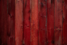 Aged Red Wooden Wall With Crac...