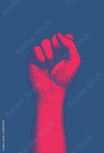 Fotografia Red engraving human fist wrist hand up illustration on blue BG