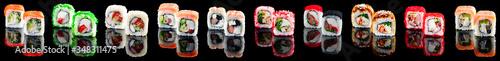 Fototapeta Set with different delicious sushi maki collection obraz