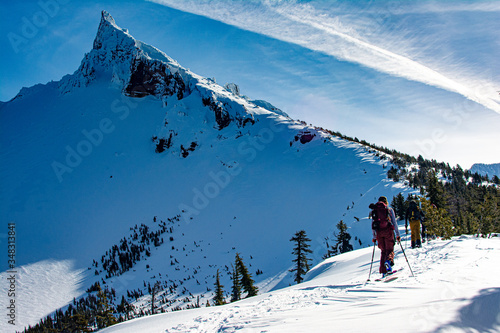backcountry snowboarding and skiing Canvas Print