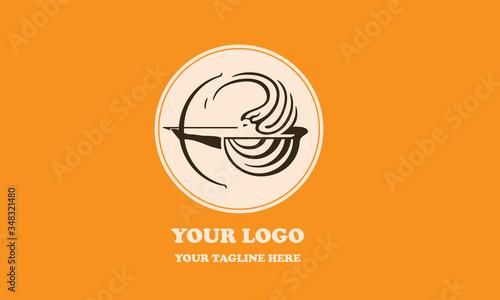 Feamle greek archer logotype Canvas Print