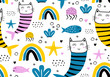 Mermaid cat seamless pattern, vector illustration cute hand drawn. Childish drawing scandinavian style. Bright pastel colors with rainbow, fish, and sea decoration. Good for kids and baby fashion.