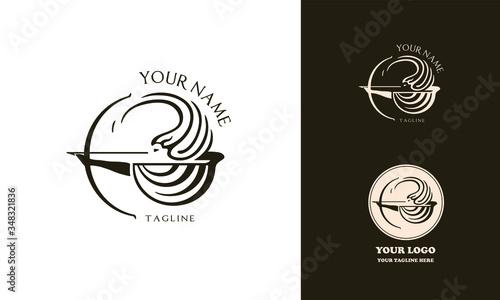 Female greek archer logotype for beauty salon or health care Canvas Print