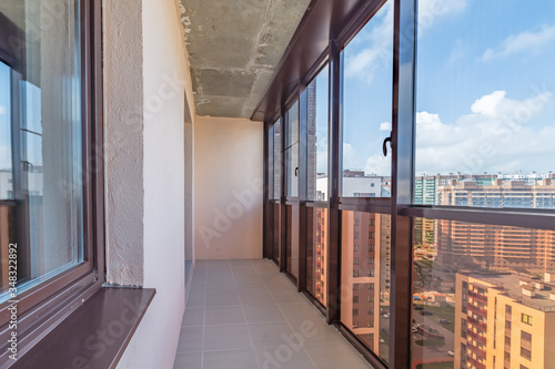 Small balcony interior in modern apartment building Canvas Print