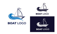 Boat Logo With Style Modern , Can Also Be Used Yacht Logo ,sailboat Logo , Beneteau , Fishing Boat, Surfing