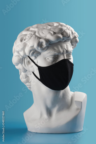 Gypsum David bust head in cloth face mask Wallpaper Mural