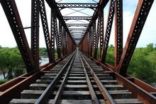 Railway Track On Bridge