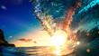 canvas print picture Sea wave surfing ocean lip shorebreak crest in Hawaii