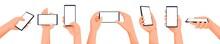 Human Hands Using Smartphone. ...