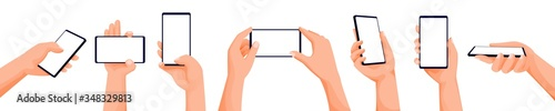 Fototapeta Human hands using smartphone. Phone with blank display. Mock up, app interface design elements. Vector illustration obraz