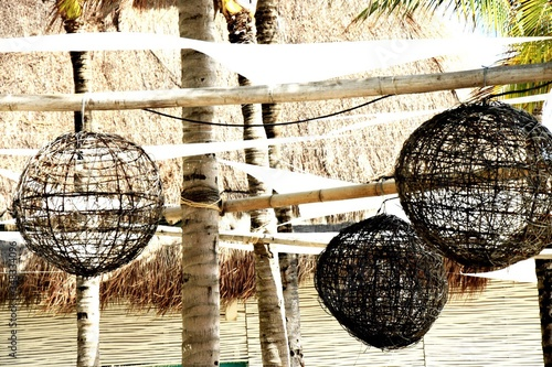 Fotografía Birdcages Hanging On Bamboos